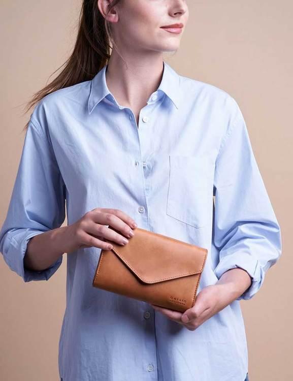 Kuverväska eller plånbok, naturgarvat läder
