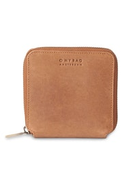 Kvadratisk plånbok, brun naturgarvat läder
