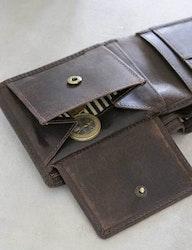 Herrplånbok brun naturgarvat läder