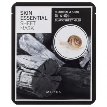 Ansiktsmask -MISSHA Skin Essential Sheet Mask Charcoal & Snail