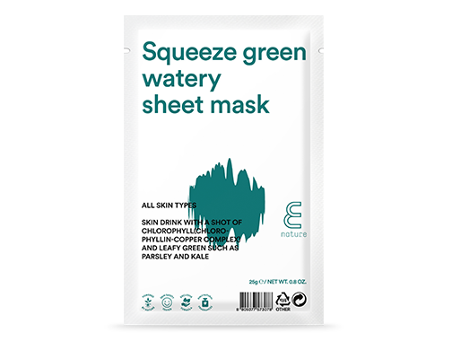 Ansiktsmask- E NATURE Squeeze Green Watery Sheet Mask  -10 pack
