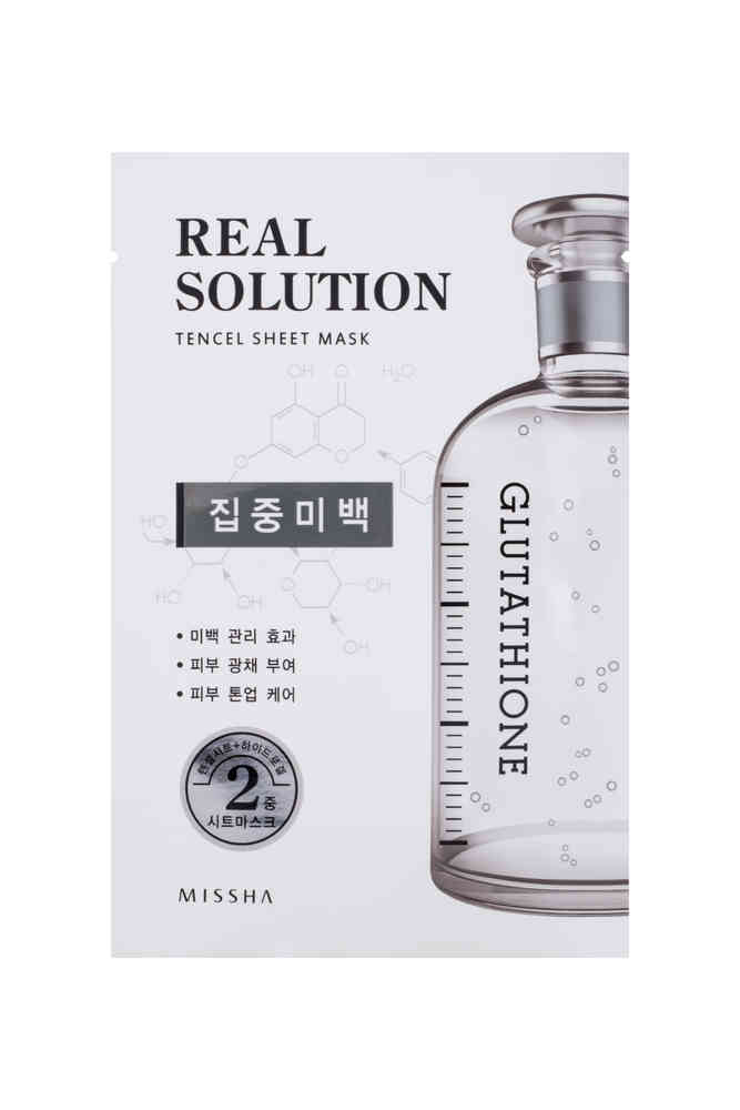 Ansiktsmask: Missha Real Solution Tencel Sheet Mask (Pure Whitening - Glutathione)