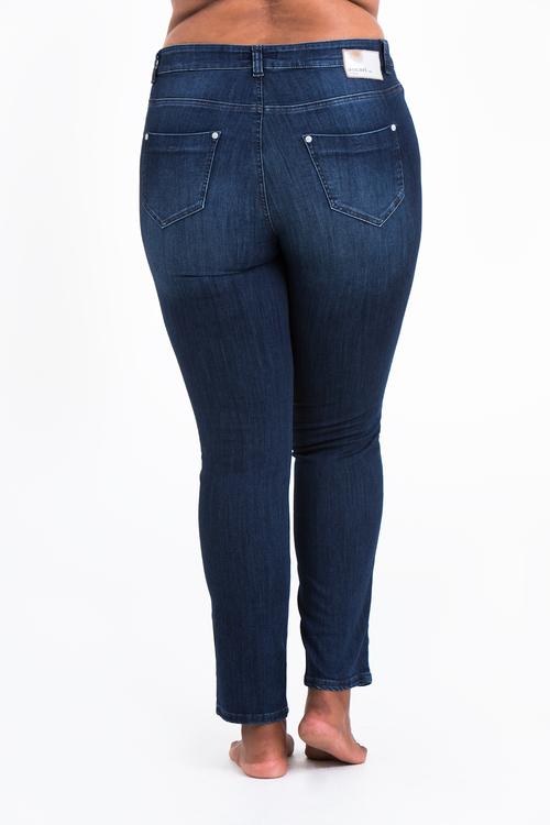 Blåa Power Jeans i stora storlekar, bakifrån.