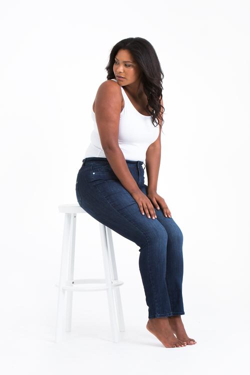 Blåa Power Jeans i stora storlekar, följsamma.