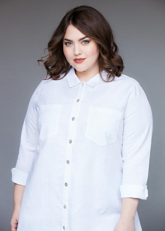 Skjorta i 55% linne & 45% bomull.