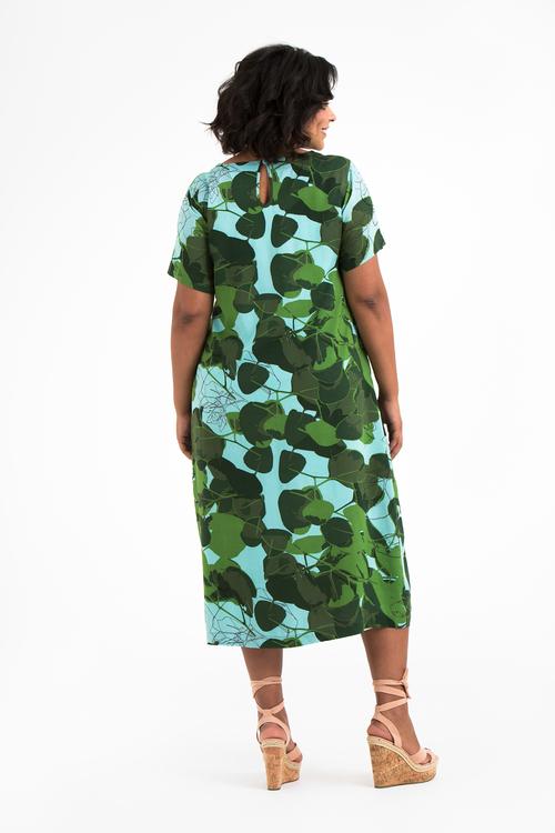 Lovisa klänning Fauna blå/grön