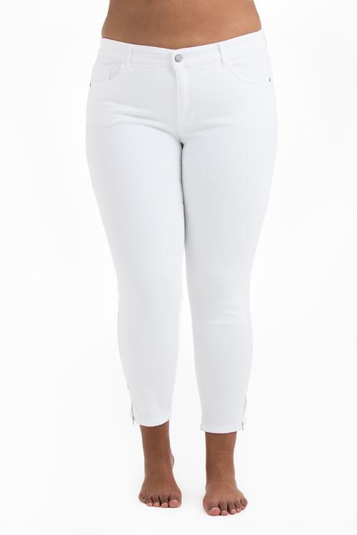 Vita Power Zip Jeans i stora storlekar, framifrån.