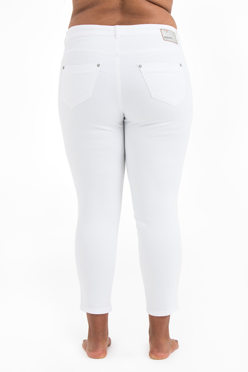 Vita Power Zip Jeans i stora storlekar, bakifrån.