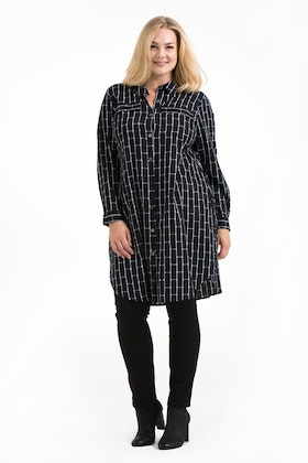 Ronja shirt/dress Brick black/white