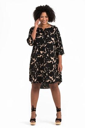 Lykke klänning/tunika Ink beige/svart