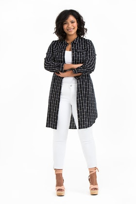 Ronja skjorta/klänning Brick svart/vit