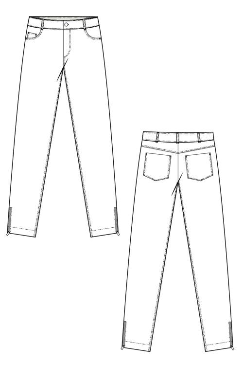 Power zip jeans vit