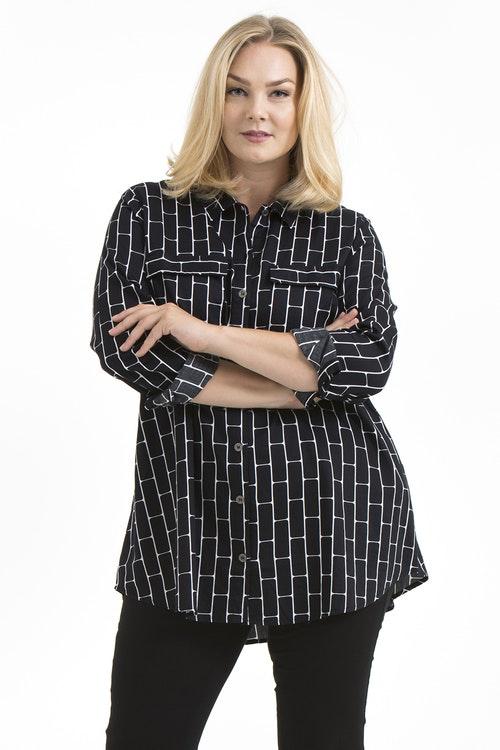 Sibel skjorta Brick svart/vit