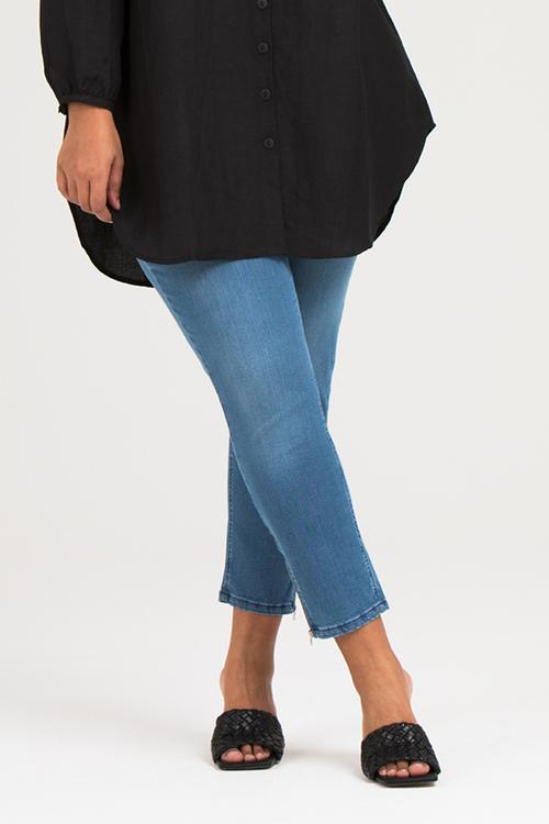 Power zip jeans blå