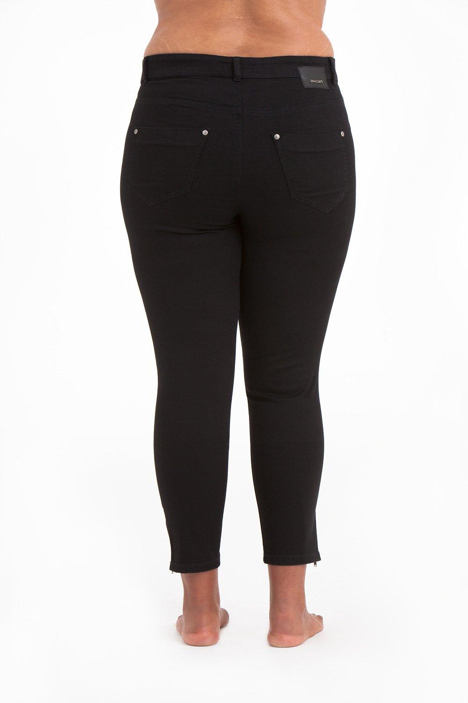 Svarta Power Zip Jeans i stora storlekar, bakifrån.