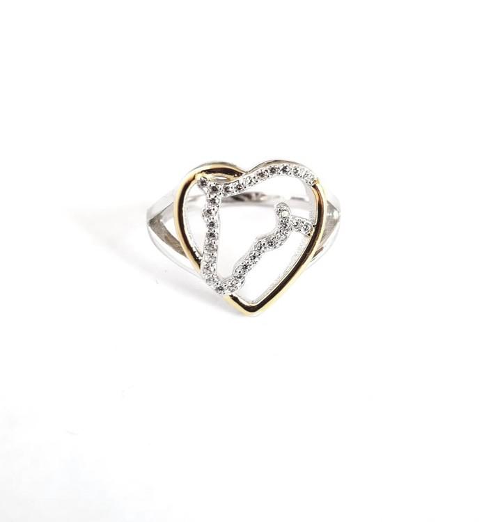 Ring Hästhuvud-Hjärta, äkta silver