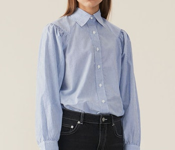 Striped Cotton Poplin Skjorta