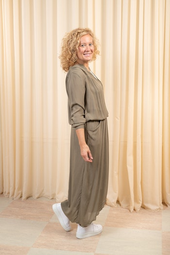 Crinkle Wrap Over Dress L/S