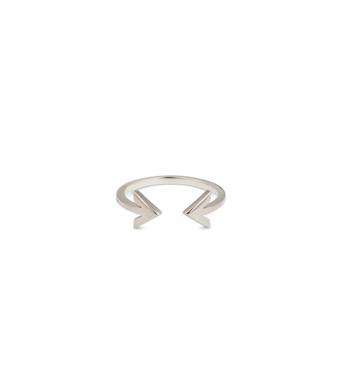 Strict Plain Double Arrow Ring Silver