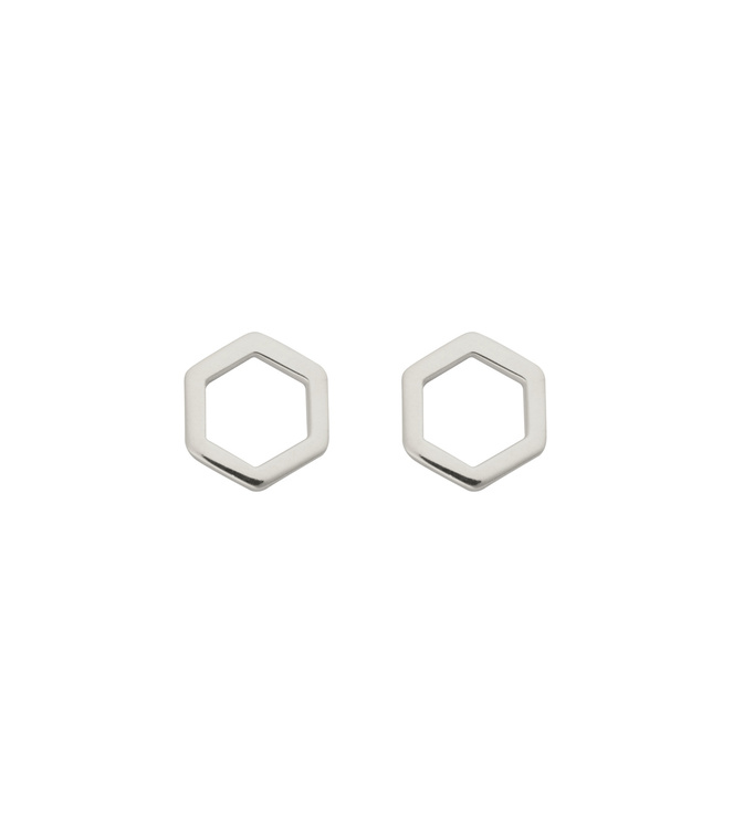 Strict Plain Hexagon Earrings Silver Syster P