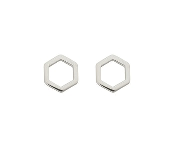 Strict Plain Hexagon Earrings Silver
