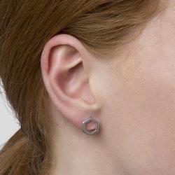 Strict Plain Hexagon Earrings Silver