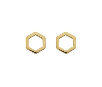 Strict Plain Hexagon Earrings Gold