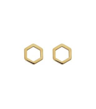 Strict Plain Hexagon Earrings Gold