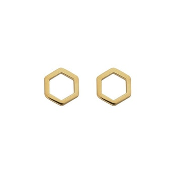 Strict Plain Hexagon Earrings Gold Syster P