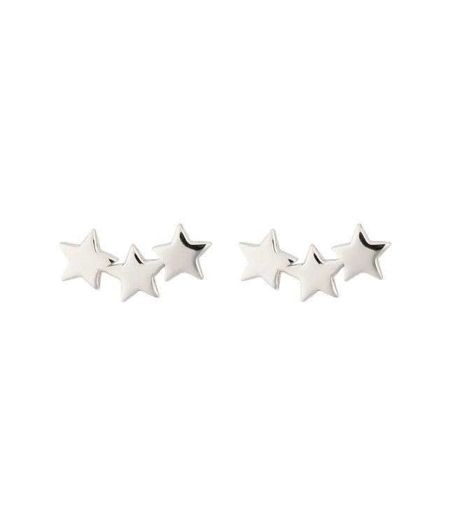 Snap Earrings Triple Star Silver Syster P