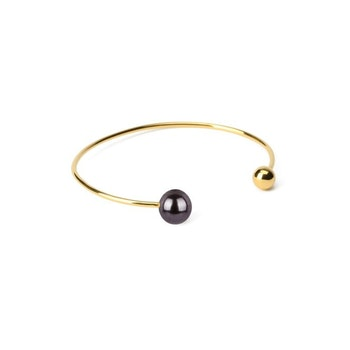 Pearly Double Bangle Gold Black Syster P