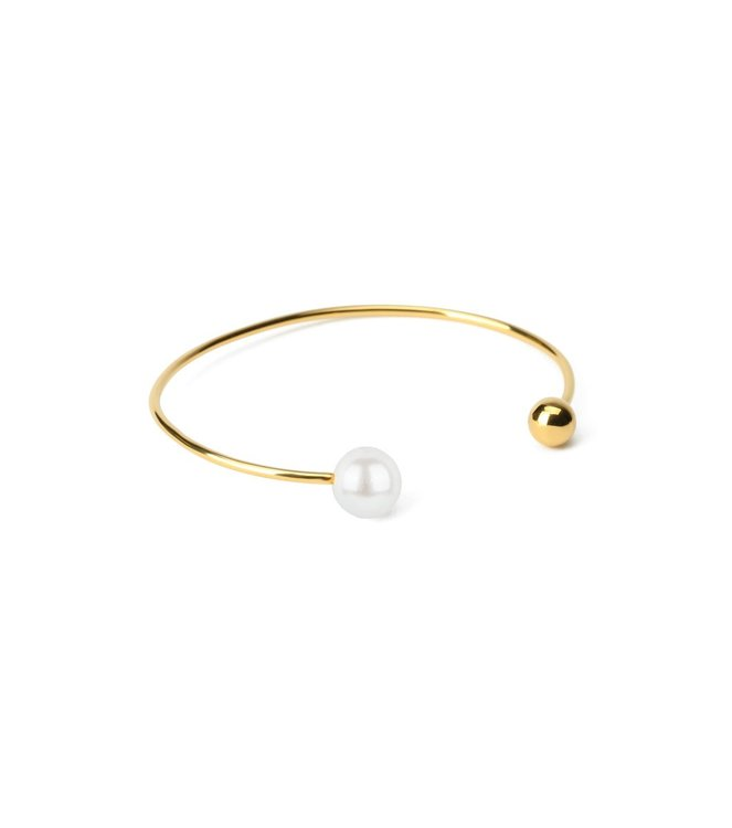 Pearly Double Bangle Gold White Syster P