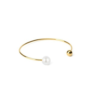 Pearly Double Bangle Gold White