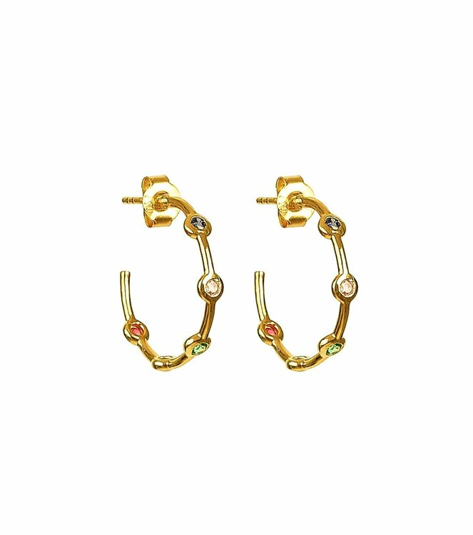 Treasure Shimmer Hoops Guld Multi Syster P