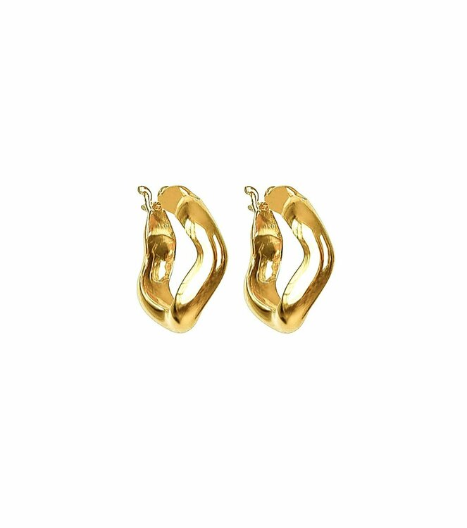 Bolded Wavy Earrings Shiny Gold Syster P