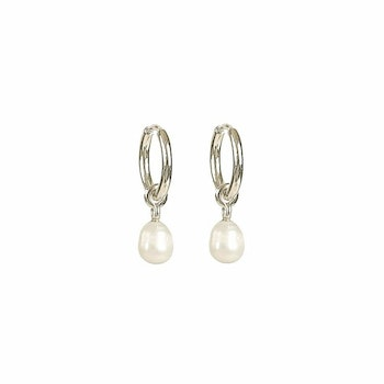 Treasure Pearl Hoops Silver Syster P
