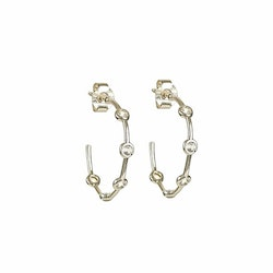 Treasure Shimmer Hoops Guld White Topaz Syster P