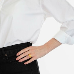 Bolded Wavy Ring Shiny Gold Syster P