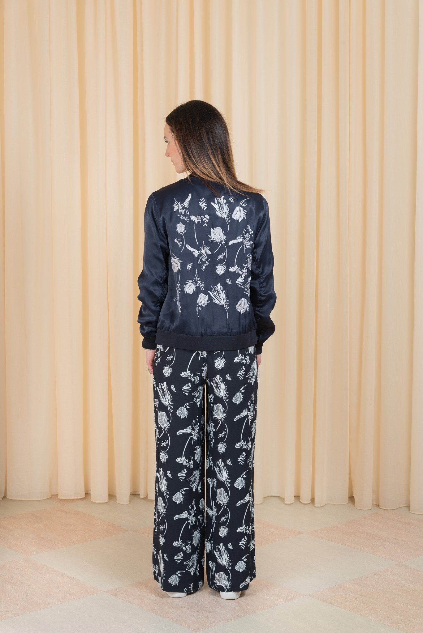 Panter Embroidered bomber jacket blue stone