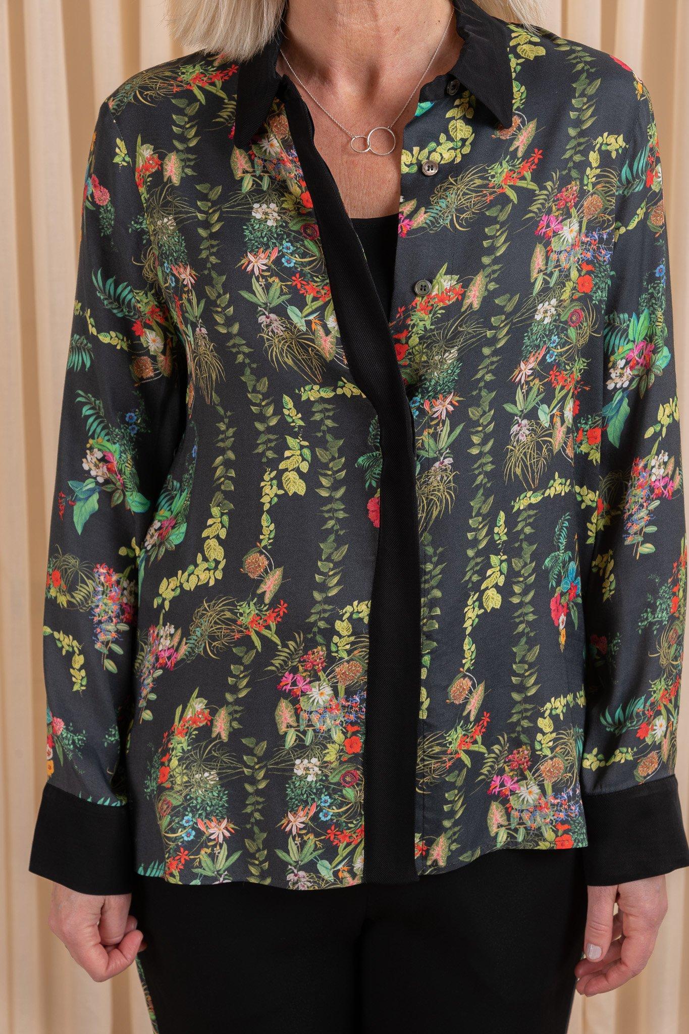 Fie Shirt Black Garden Flower Graumann