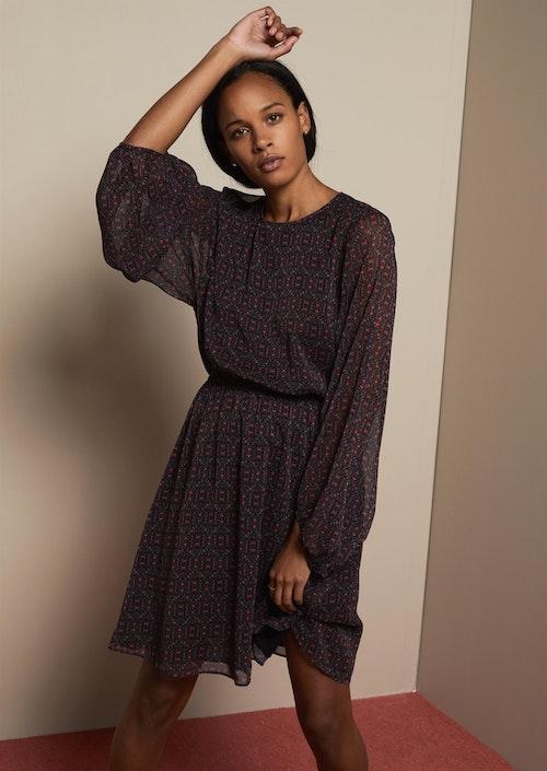 Serena Dress Black Flower Print Twist & Tango