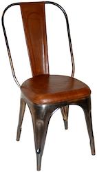 Plåtstol med brunt läder