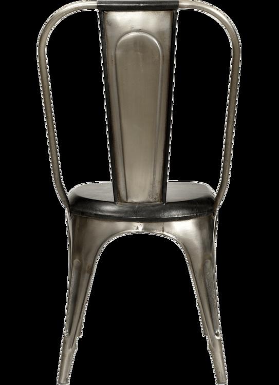 Plåtstol med svart läder