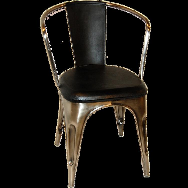 Svart läder sits plåtstol