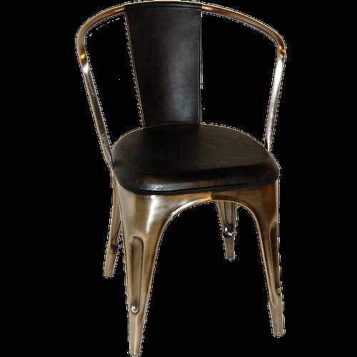 Plåtstol med armstöd & svart lädersits