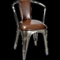 Plåtstol med armstöd & brun lädersits
