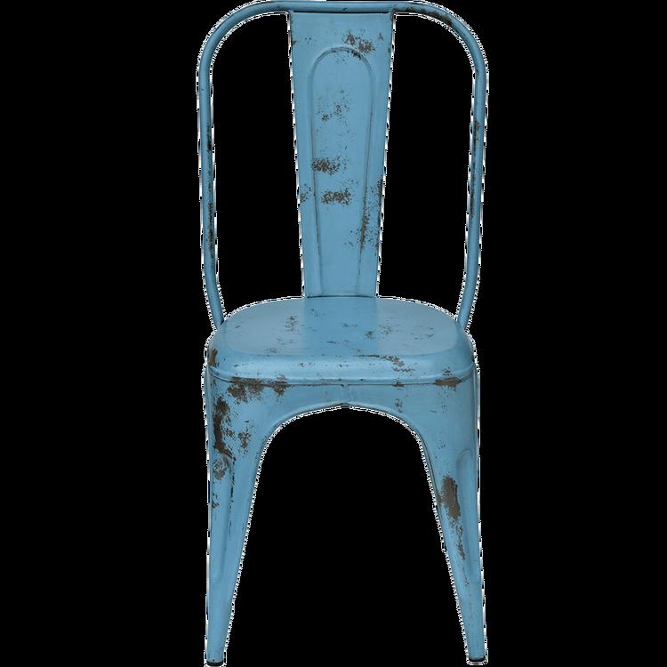 Blå borstad plåtstol