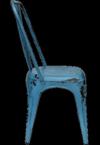 Blå plåtstol