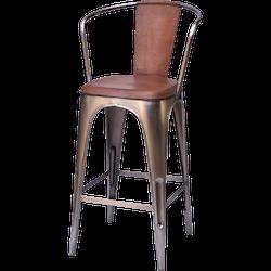 Barstol med armstöd & brun lädersits