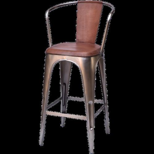 Brunt & metall barstol